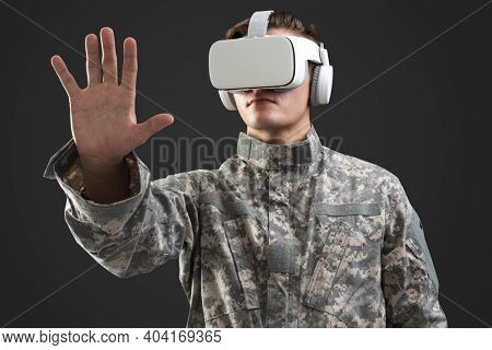 Military wearing VR headset in simulation training