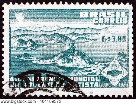 Brazil - Circa 1953: A Stamp Printed In Brazil Shows Bay Of Rio De Janeiro, Circa 1953