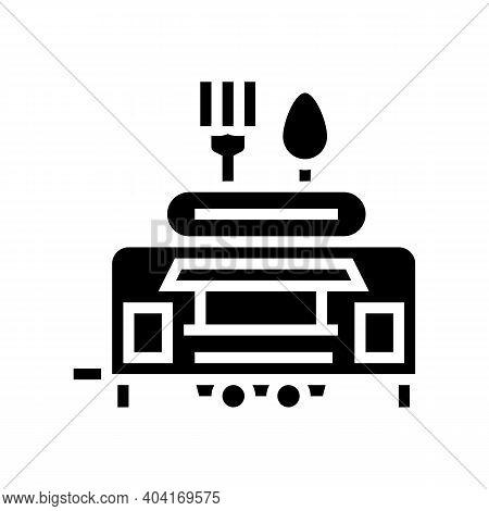 Street Food Trailer Glyph Icon Vector. Street Food Trailer Sign. Isolated Contour Symbol Black Illus