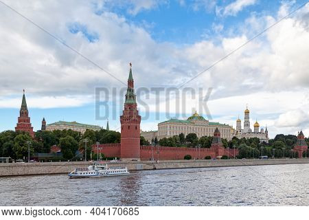 Moscow, Russia - July 08 2018: The Kremlin Wall With The Ivan The Great Bell-tower, The Cathedral Of