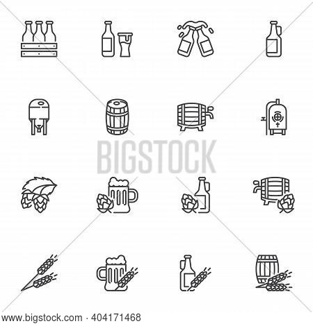 Brewery Beer Line Icons Set, Outline Vector Symbol Collection, Linear Style Pictogram Pack. Signs, L