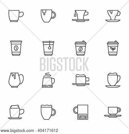 Coffee And Tea Line Icons Set, Outline Vector Symbol Collection, Linear Style Pictogram Pack. Signs