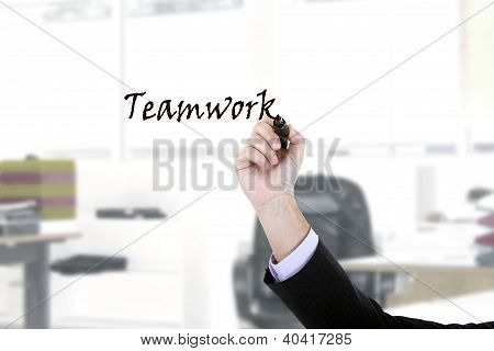Hand Writing On Copy Space On Virtual Whiteboard / Screen