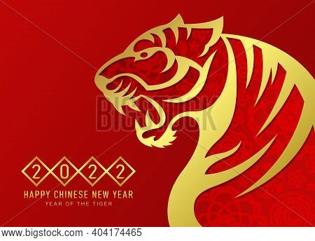 China New Year 2022 - Gold Abstract Roaring Tiger Zodiac Sign With Flower Texture On Red Background