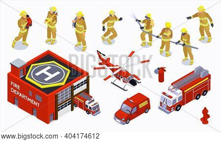 Firefighter Isometric Color Icons Set With Special Transport Warden And Brigade Of Professionals In