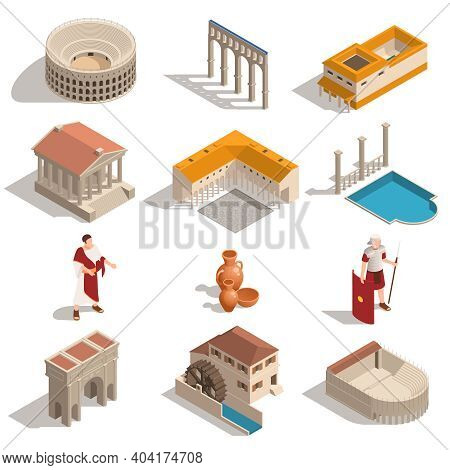 Ancient Rome People Landmarks Architecture Elements Pottery Isometric Set With Colosseum Pantheon Tr