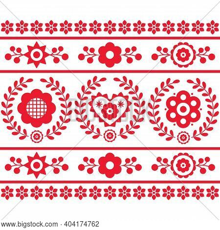 Polish Folk Art Vector Seamless Vertical Embroidery Pattern With Flowers And Wreaths Inspired By Emb