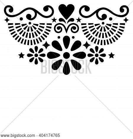Mexican Folk Art Vector Greeting Card Or Invitation Design, Black And White Pattern With Flowers And