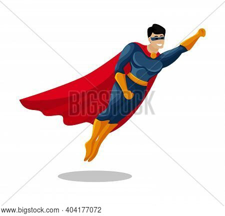 Hero. Male Super Hero Vector Cartoon Characters.