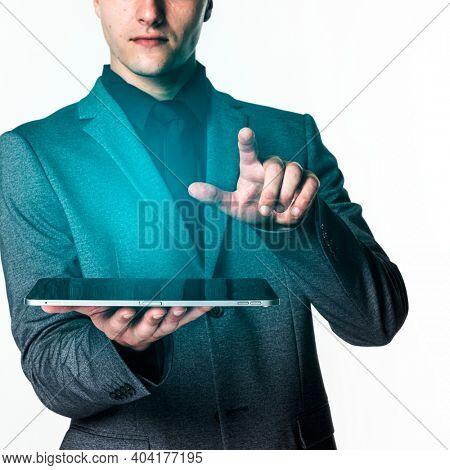 Businessman using digital tablet future technology