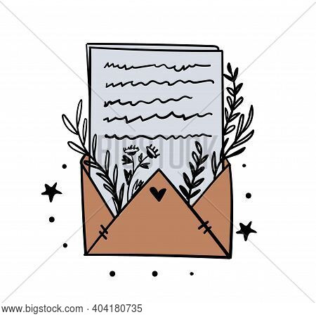 Envelope With Letter And Branches Of Plants With Leaves, Color Illustration, Magic Symbol For Witchc