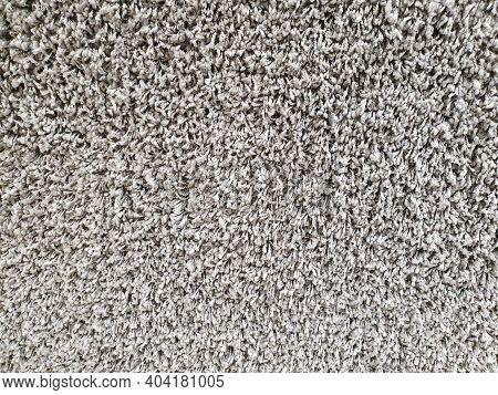 Gray Long Pile Carpet Texture Background. Top View. Polypropylene Long Pile Carpet