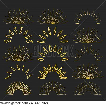 Set Of Vintage Sunbursts In Different Shapes. Sunburst Set. Big Collection Sunburst Best Quality.