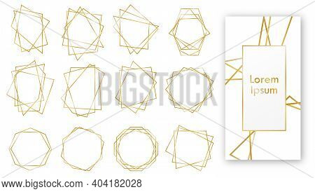 Gold Geometric Wedding Invitation, Set Of Luxury Frames. Golden Geometric Frames. Geometrical Polyhe