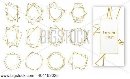 Gold Geometric Wedding Invitation, Set Of Luxury Frames. Golden Geometric Frames. Geometrical Polyhe