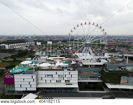 Aerial View Of Aeon Mall Jakarta Garden City, Aeon Is A Largest Shopping Mall In East Jakarta. Jakar