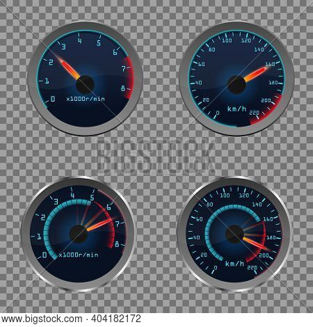 Set Of Isolated Dashboard Speedometers. Motorbike Or Motorcycle, Auto Or Automobile, Lorry Speed Mea