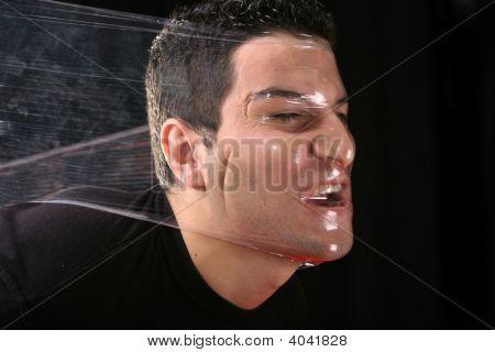 Strangling Man By Plastic