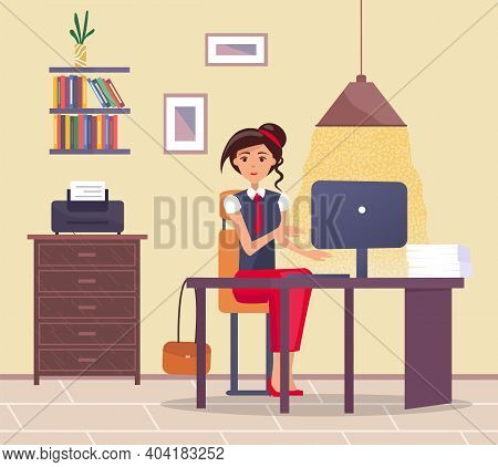 Young Business Woman At The Desk Is Working On The Computer Vector Illustration. Secretary In Office