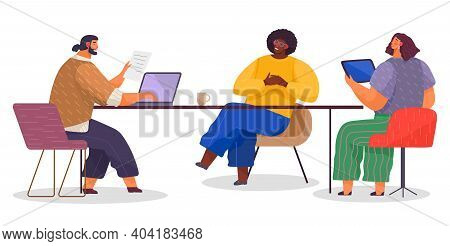 Teamwork Communication, Communicating Office Workers, Woman Sitting At Table With Tablet Talking Wit