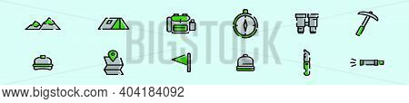Set Of Mountaineer Cartoon Icon Design Template With Various Models. Modern Vector Illustration Isol