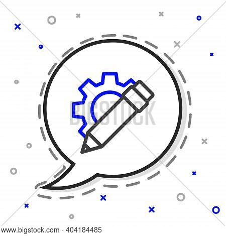Line Pencil And Gear Icon Isolated On White Background. Creative Development. Blogging Or Copywritin