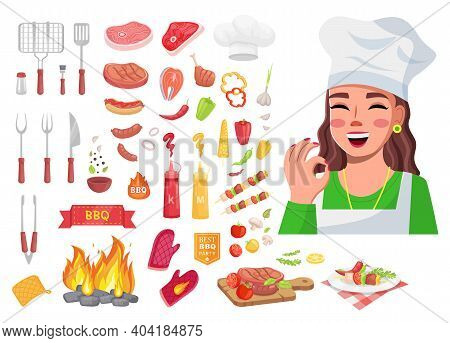Food Collection, Cook Woman Show Okay Gesture, Good Delicious Yummy Meal, Tools For Kitchen, Sorts O