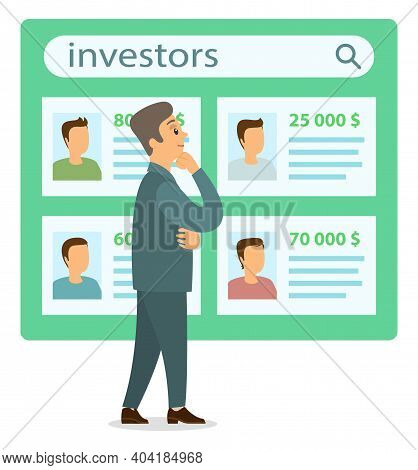 Businessman Near Investor Candidate List Makes A Choice. Business Idea Development, Generation Of In