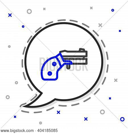 Line Small Gun Revolver Icon Isolated On White Background. Pocket Pistol For Self-defense. Ladies Re