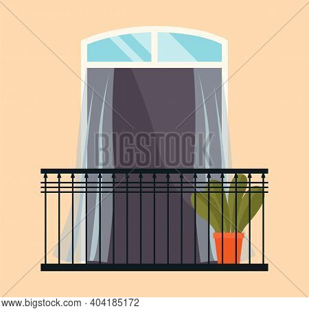 Balcony With Iron Fence With Patterns. Large Window With Potted Plants Vector Illustration. Window O