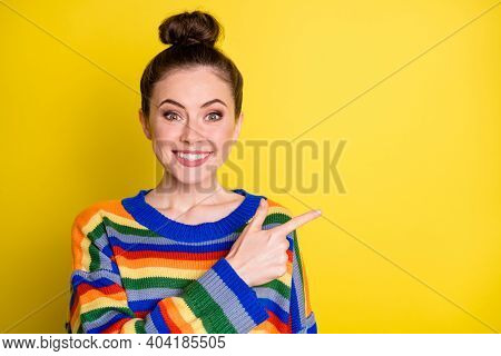 Photo Of Young Attractive Positive Smile Girl Show Point Index Finger Empty Space Promo Advert Isola
