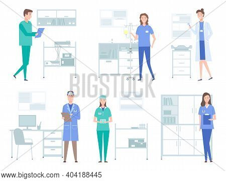 Set Of Illustrations About Doctors Work With Equipment And Instruments. Medical Services Concept. Pa