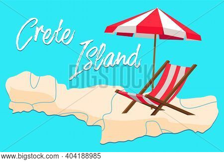 Crete Island Invitation Card Vector Illustration. Beachfront With Parasol And Sun Lounger. Landscape