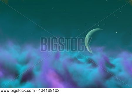 Abstract Background Design Illustration Of Mystic Haze With Moon With Lights Bokeh Effect You Can Us