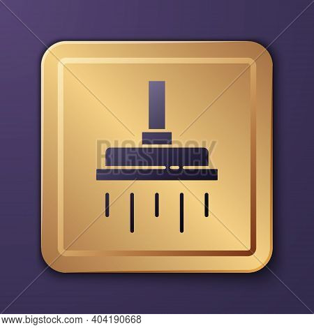 Purple Shower Head With Water Drops Flowing Icon Isolated On Purple Background. Gold Square Button.