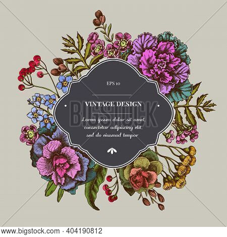 Badge Over Design With Wax Flower, Forget Me Not Flower, Tansy, Ardisia, Brassica, Decorative Cabbag
