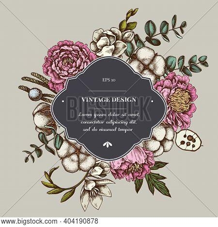 Badge Over Design With Ficus, Eucalyptus, Peony, Cotton, Freesia Brunia Stock Illustration