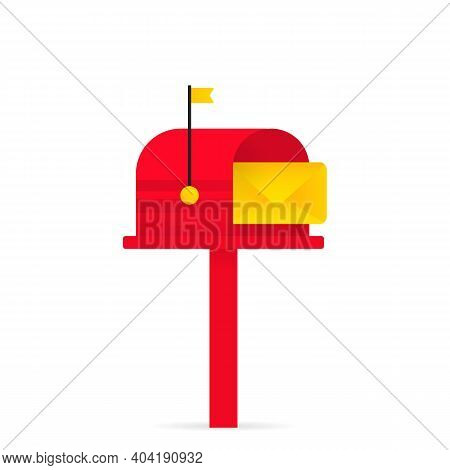 Mailbox Icon. Opened Red Mailbox With An Envelope. Vector On Isolated White Background. Eps 10