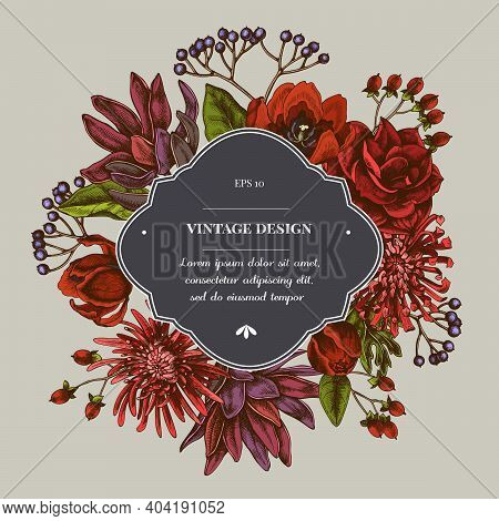 Badge Over Design With Viburnum, Hypericum, Tulip, Aster, Leucadendron Amaryllis Stock Illustration