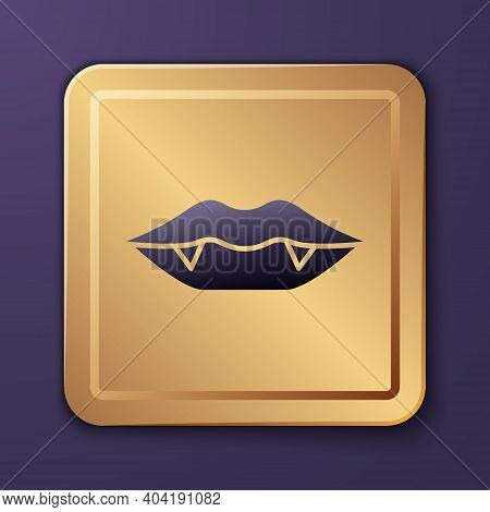 Purple Vampire Teeth Icon Isolated On Purple Background. Happy Halloween Party. Gold Square Button.