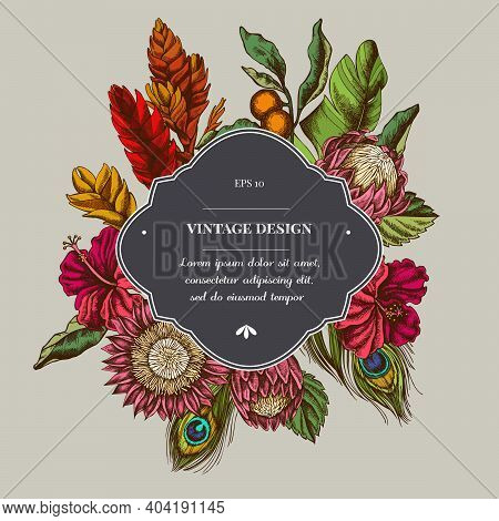 Badge Over Design With Banana Palm Leaves, Hibiscus, Solanum, Bromeliad, Peacock Feathers, Protea St