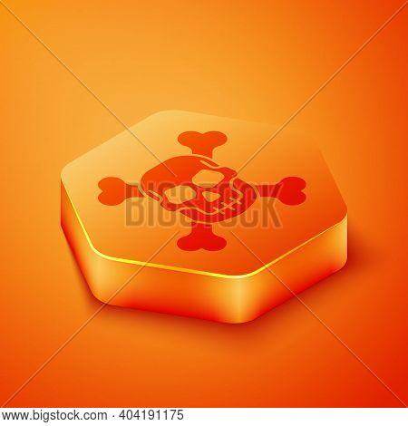 Isometric Skull On Crossbones Icon Isolated On Orange Background. Happy Halloween Party. Orange Hexa
