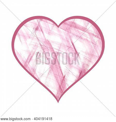 Pink Heart With White And Pink Delicate Watercolor Stripes And A Bright Crimson Outline. Isolate On