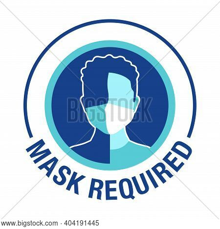 Mask Required, No Entry Without Mask Sticker - Cartoon Person Character In Virus Protective Equipmen