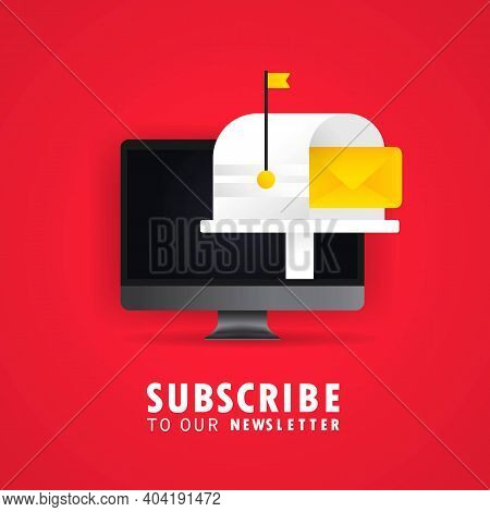 Subscribe To Our Newsletter Banner. With Text Box And Subscribe Button Template. Vector On Isolated