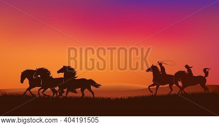 Cowboy And Cowgirl Riders Chasing Mustang Horses Herd And Throwing Lasso - Romantic Wild West Sunset