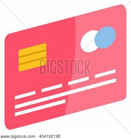 Credit Card For Paymen, Financial Operations. Red Card With Protective Elements To Pay Contactless.