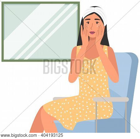 Young Woman Is Using Cosmetic Cleansing Gel To Clean Her Face Flat Vector Illustration. Morning Rout