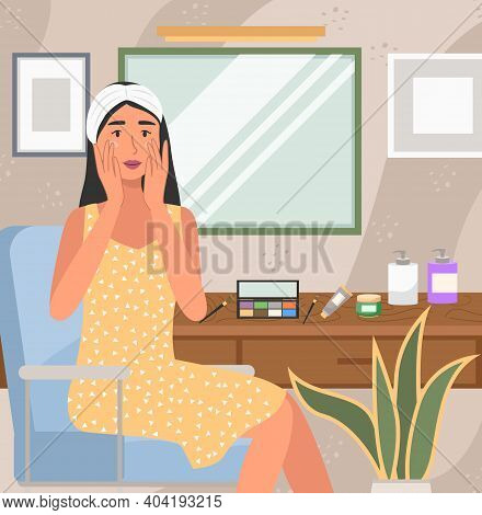 Woman Using Cosmetic Cleansing Gel To Prepare The Skin For Makeup. Girl Is Doing Morning Routine. Fe