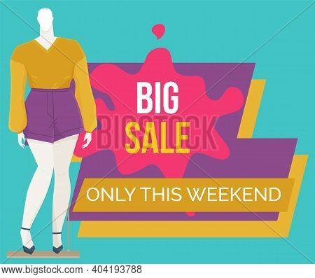 Best Offer Banner On The Window Of A Clothing Store With Mannequins. Discount Time. Big Sale Special